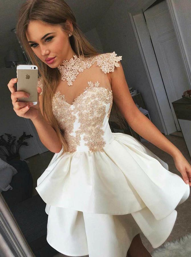 A-Line High Neck Short White Tiered Homecoming Dress with Appliques