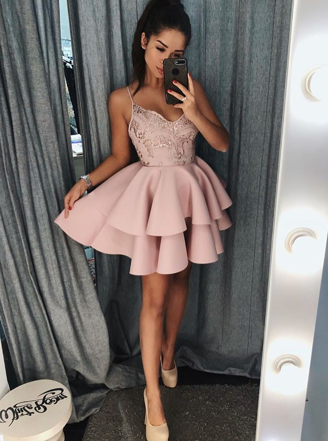 A-Line Spaghetti Straps Short Pink Tiered Homecoming Dress with Sequins
