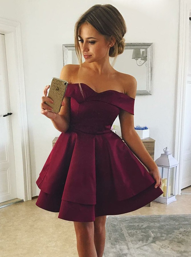 A-Line Off-the-Shoulder Tiered Burgundy Satin Homecoming Dress