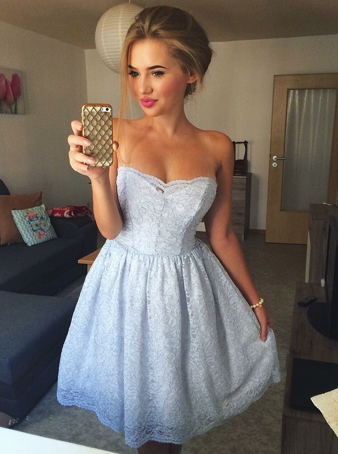 90f5124f747 ... A-Line Strapless Above-Knee Light Blue Lace Homecoming Dress