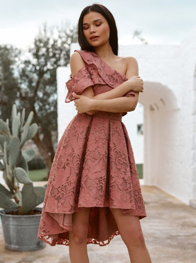 A-Line One-Shoulder Pleated Blush High Low Homecoming/Prom Dress with Lace