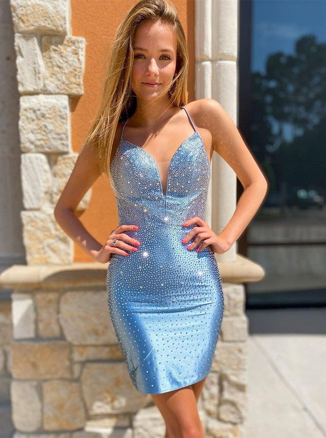 Blue Tight Homecoming Dress with Beaded