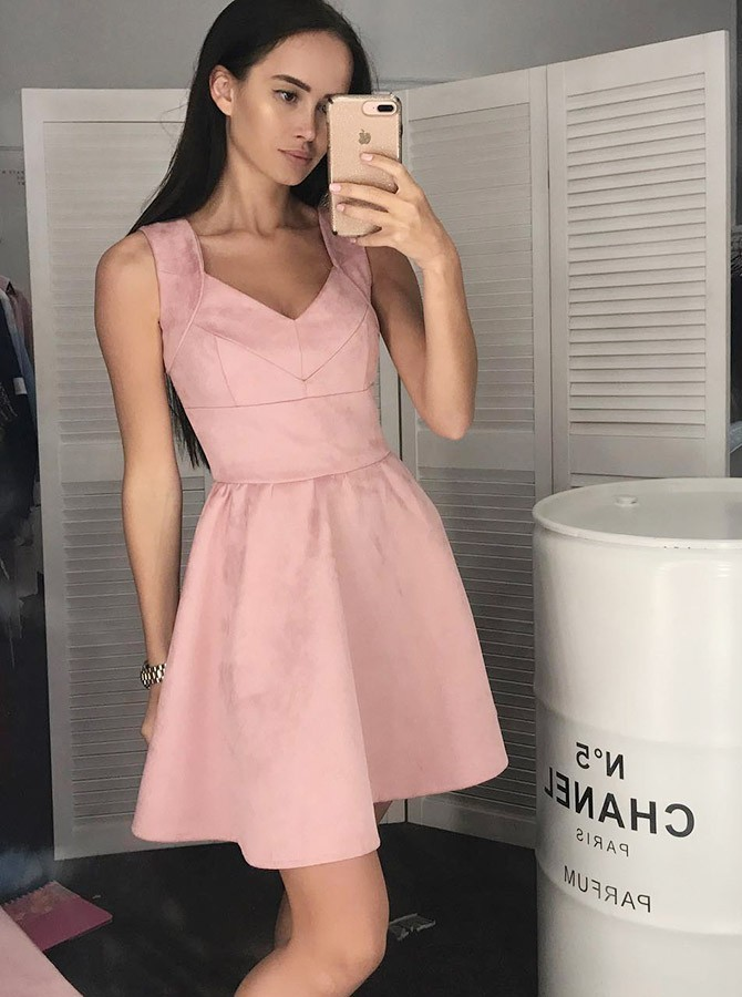 A-Line Straps Short Pink Sleeveless Satin Homecoming Dress