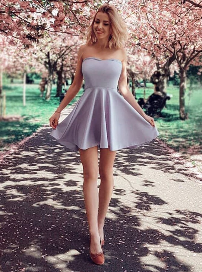 A-Line Strapless Short Grey Satin Homecoming/Party Dress