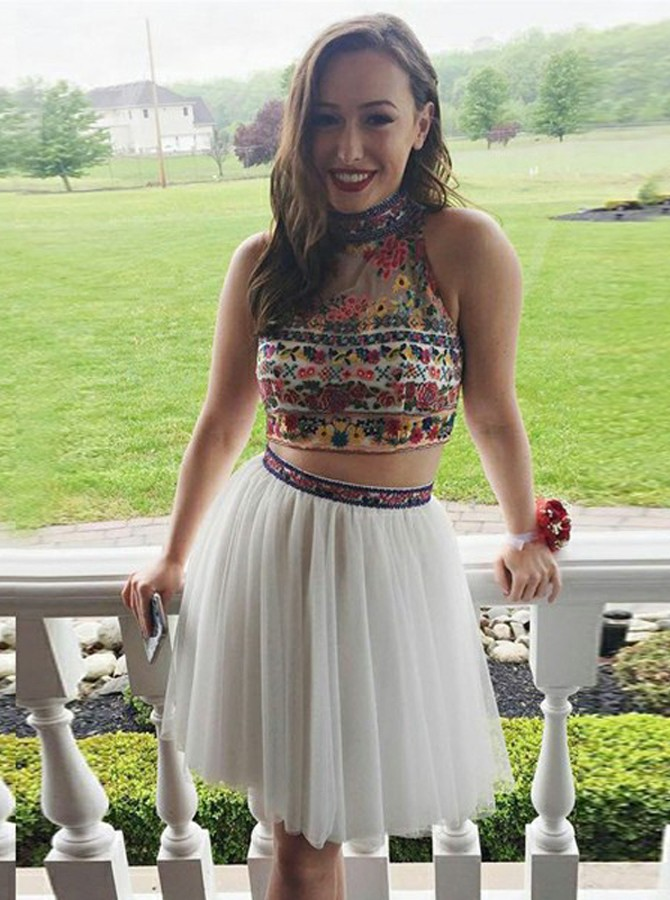 Two Piece High Neck Short White Homecoming Dress with Embroidery