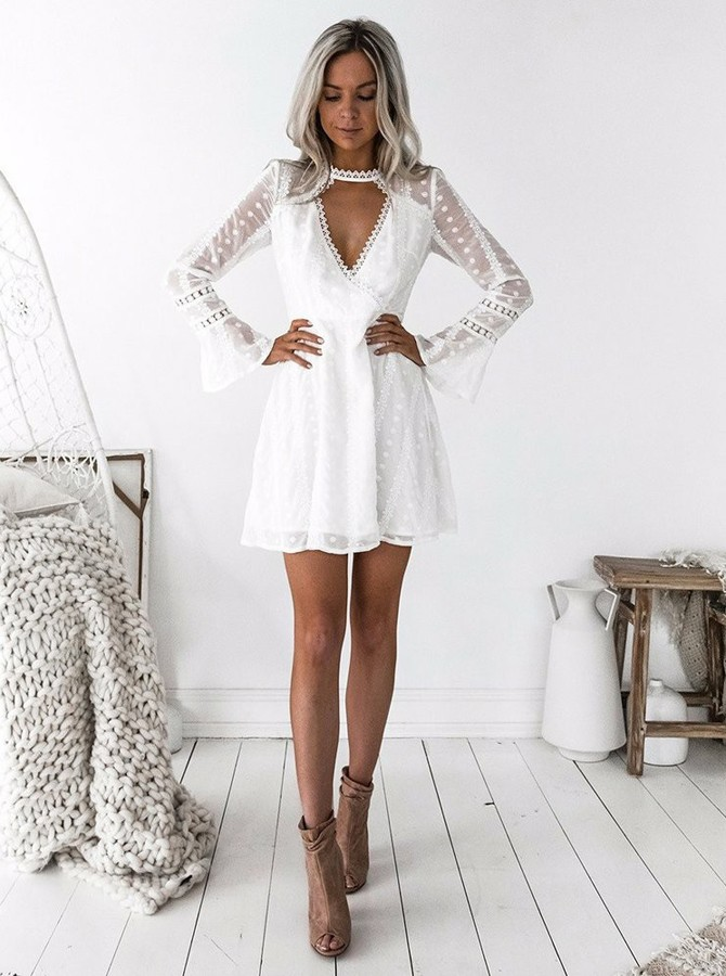 A-Line Jewel Long Sleeves Short White Lace Homecoming Dress