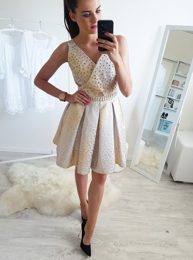 A-Line V-Neck Above-Knee Light Champagne Homecoming Dress with Beading Pleats