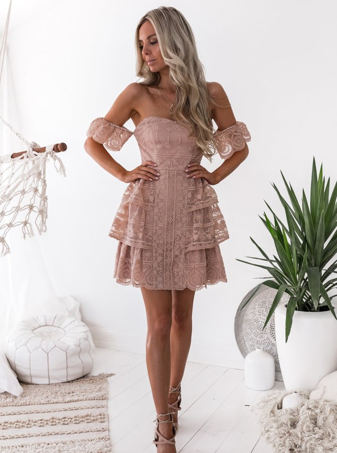 A-Line Off-the-Shoulder Short Sleeves Backless Short Blush Lace Homecoming Dress