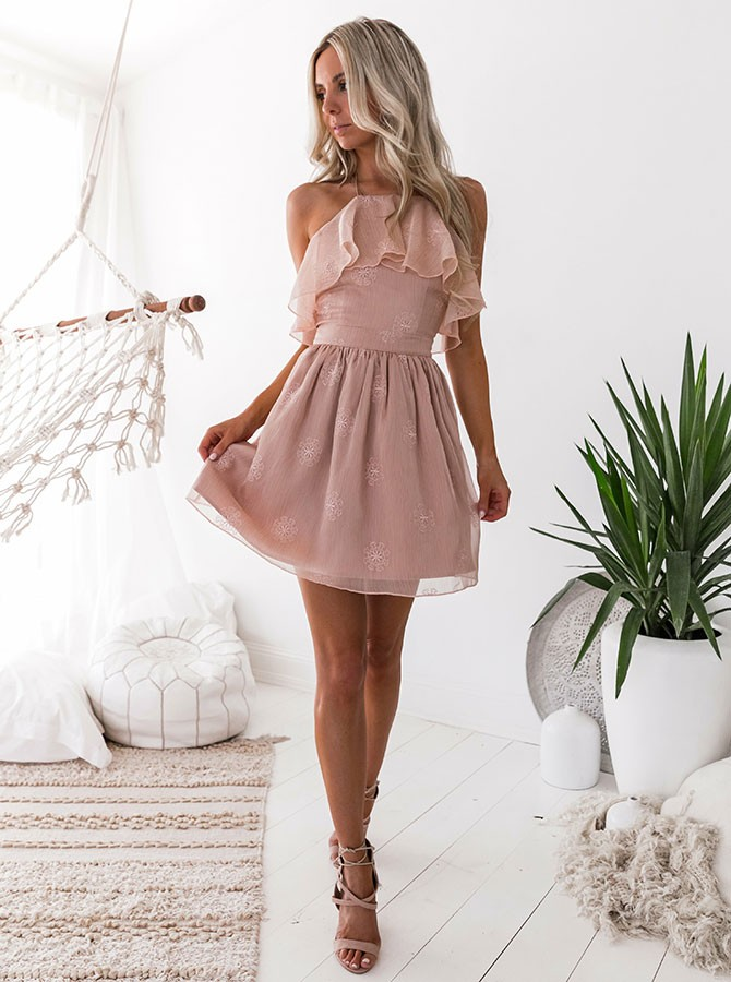 A-Line Halter Backless Short Blush Chiffon Homecoming Dress with Ruffles