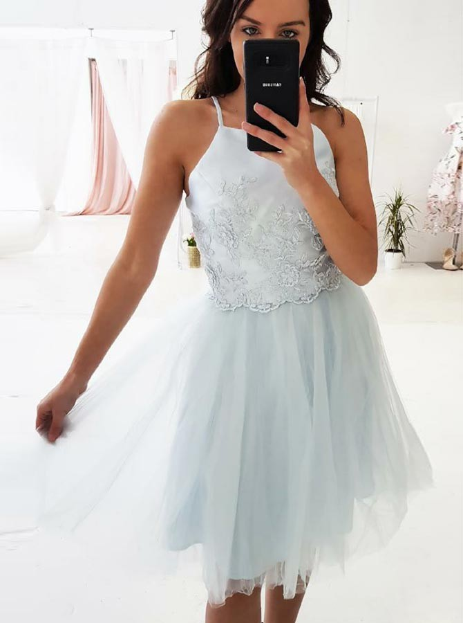 A-Line Square Above-Knee Light Blue Homecoming Dress with Appliques