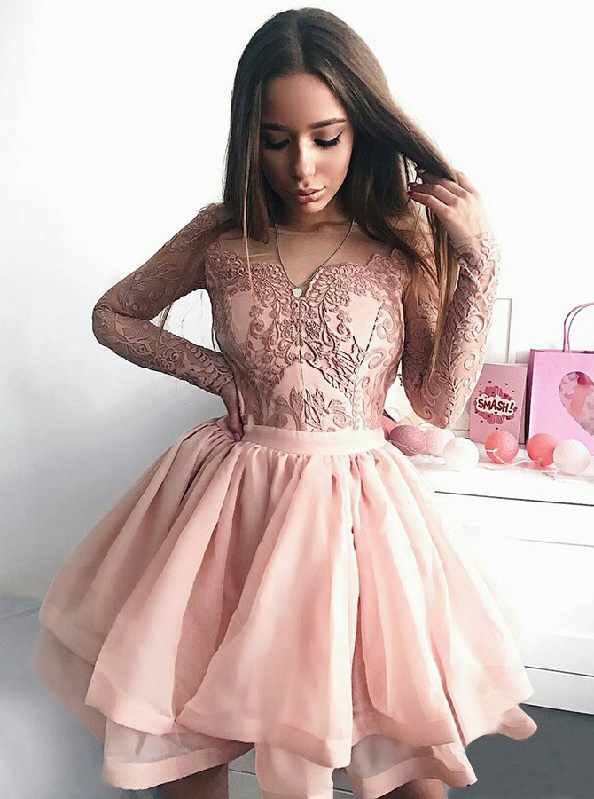 A-Line Crew Long Sleeves Above-Knee Pink Homecoming Dress with Appliques