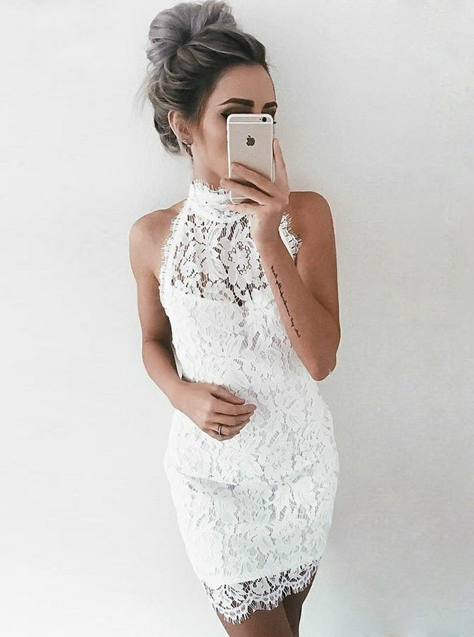 Sheath High Neck Short Sleeveless White Lace Homecoming Cocktail Dress