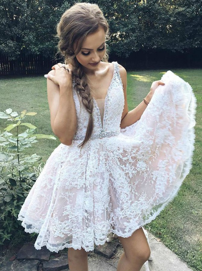 A-Line V-Neck Above-Knee White Lace Prom Homecoming Dress with Beading