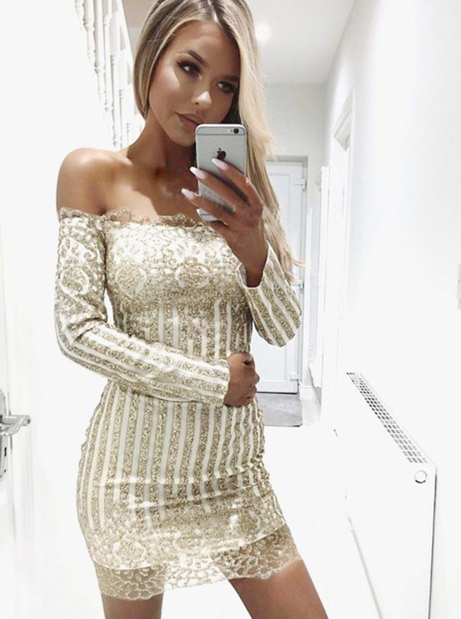 93f0665d62c Sheath Off-the-Shoulder Long Sleeves Short Champagne Homecoming Cocktail  Dress with Sequins ...