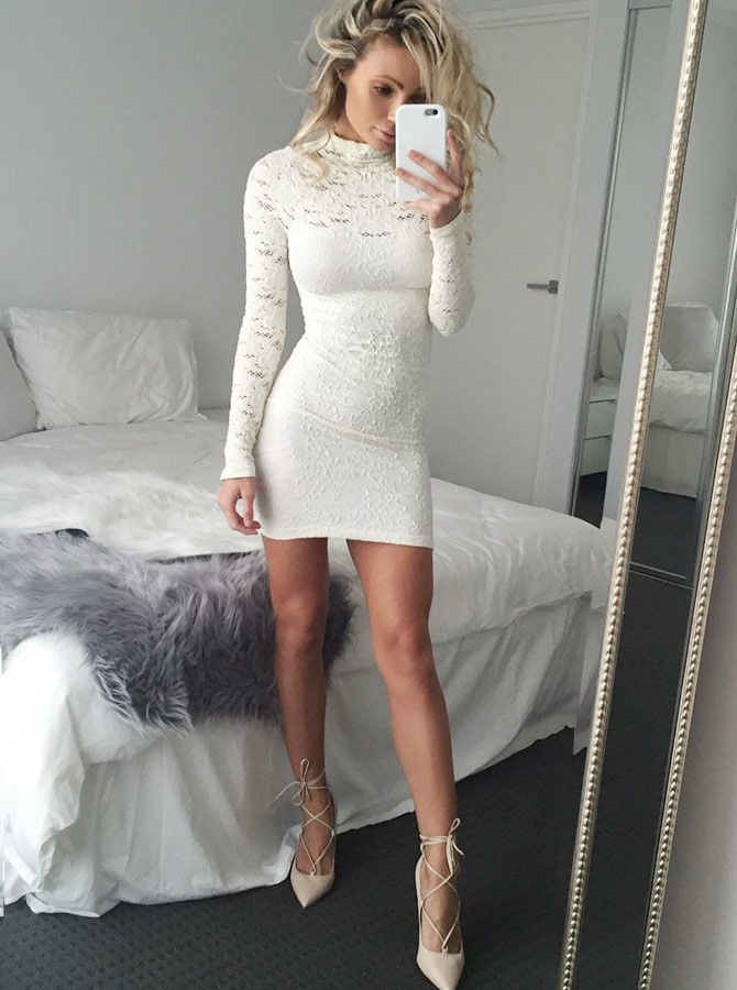 027228d3284 ... Sheath High Neck Long Sleeves Short White Lace Homecoming Cocktail Dress