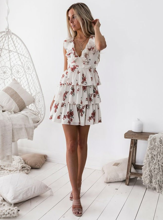 A-Line V-Neck Above-Knee White Printed Chiffon Homecoming Dress with Ruffles