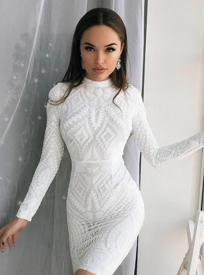 Sheath Jewel Long Sleeves Short White Homecoming Cocktail Dress