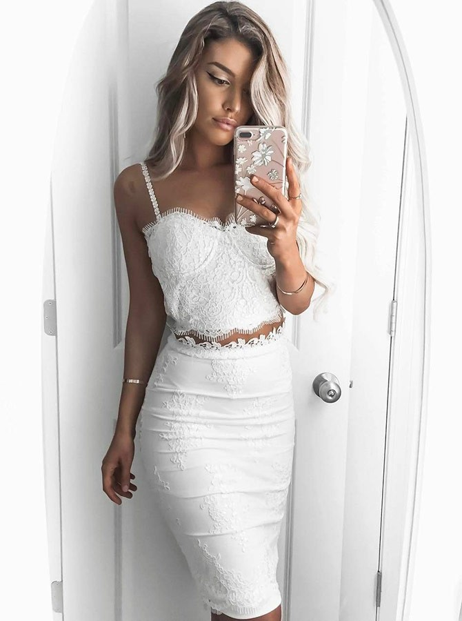 Two Piece Spaghetti Straps Knee-Length White Prom Homecoming Dress with Lace