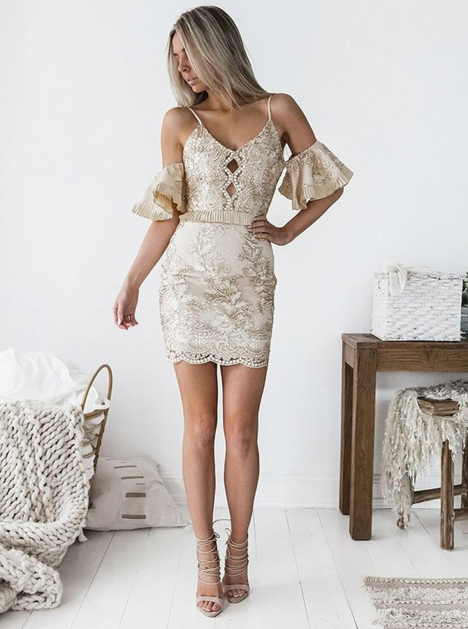 Sheath Spaghetti Straps Short Sleeves Light Champagne Homecoming Cocktail Dress
