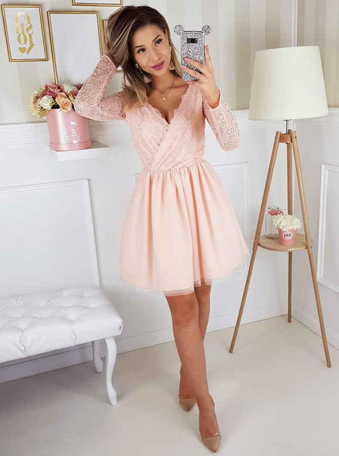 A-Line V-Neck Long Sleeves Above-Knee Pink Homecoming Dress with Lace