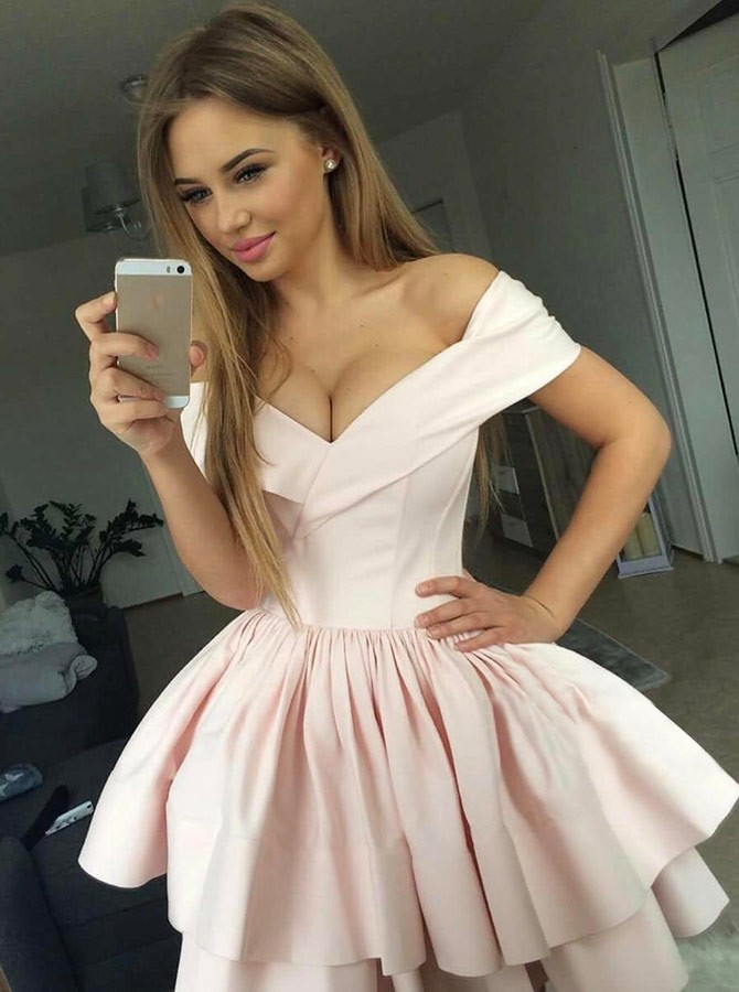 A-Line Off-the-Shoulder Above-Knee Pink Tiered Homecoming Dress
