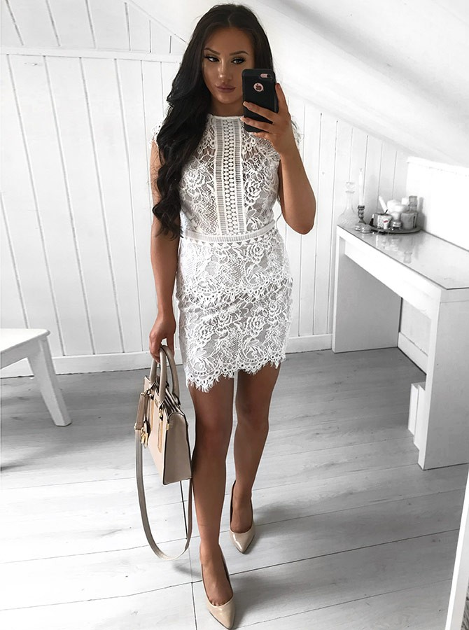 b6d3f9fc87 ... Sheath Jewel Cap Sleeves Short White Lace Homecoming Cocktail Dress