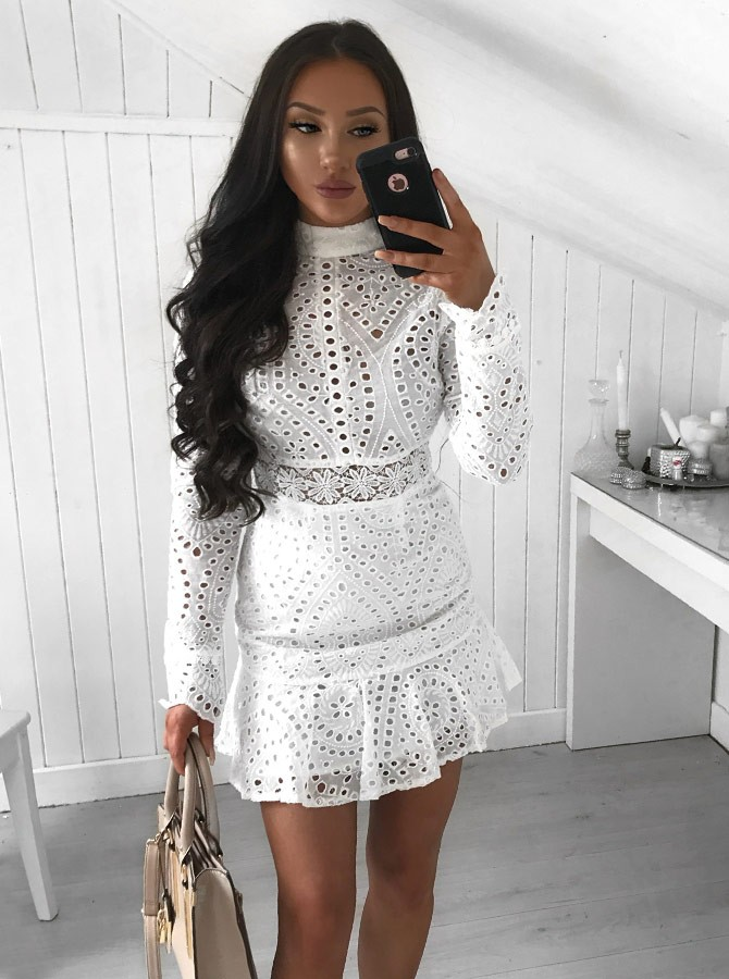 Sheath High Neck Long Sleeves Short White Lace Homecoming Cocktail Dress