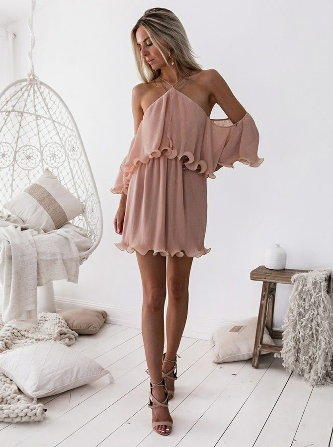 A-Line Cross Neck Short Blush Chiffon Homecoming Dress with Ruffles