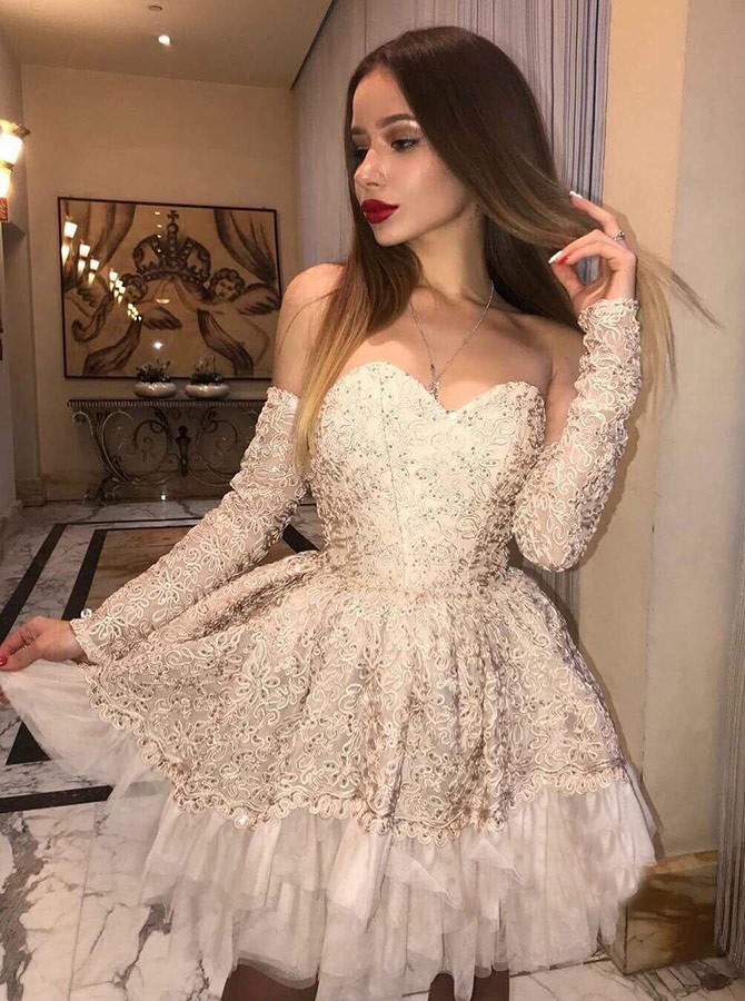 A-Line Off-the-Shoulder Long Sleeves Short Champagne Lace Homecoming Dress with Beading