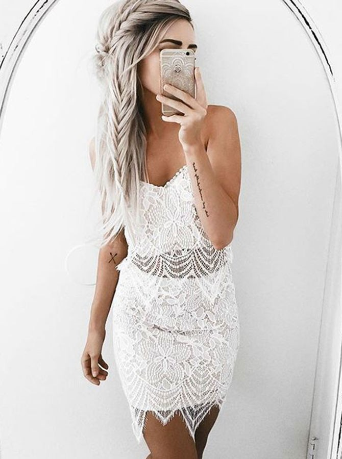 Sheath Spaghetti Straps Short White Lace Homecoming Cocktail Dress