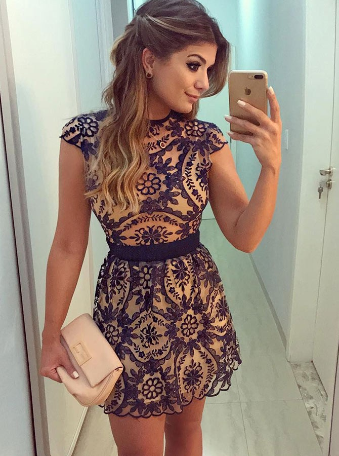 A-Line Jewel Cap Sleeves Short Navy Blue Lace Homecoming Dress