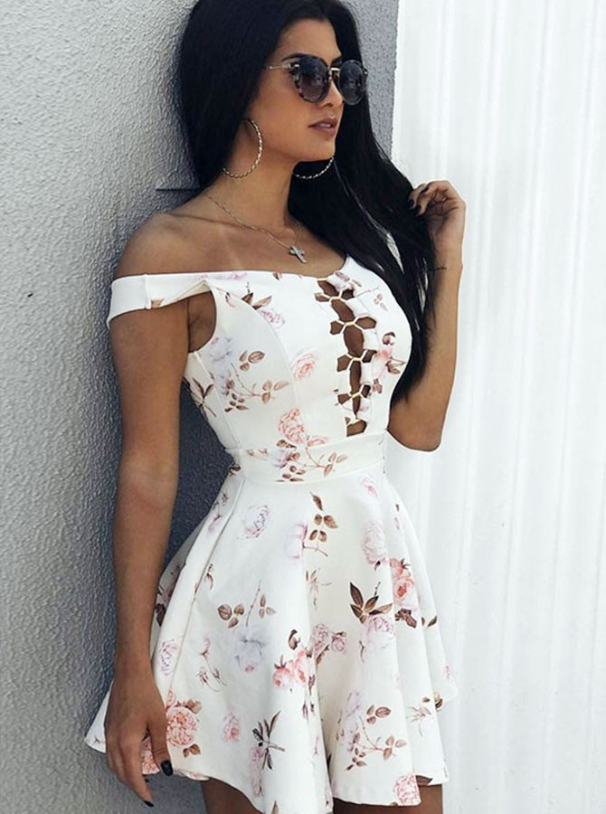 A-Line Straps Short White Printed Keyhole Homecoming Dress
