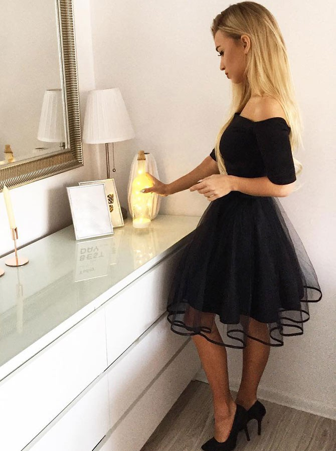 A-Line Off-the-Shoulder Short Sleeves Knee-Length Black Homecoming Dress