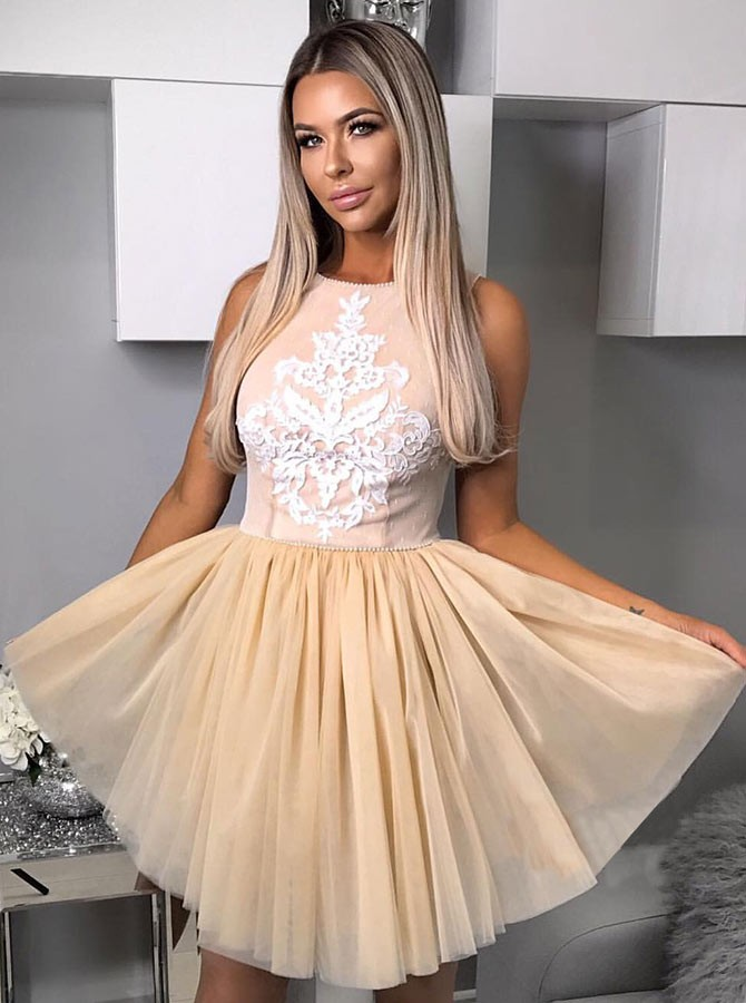 A-Line Crew Above-Knee Champagne Pleated Homecoming Dress with Appliques