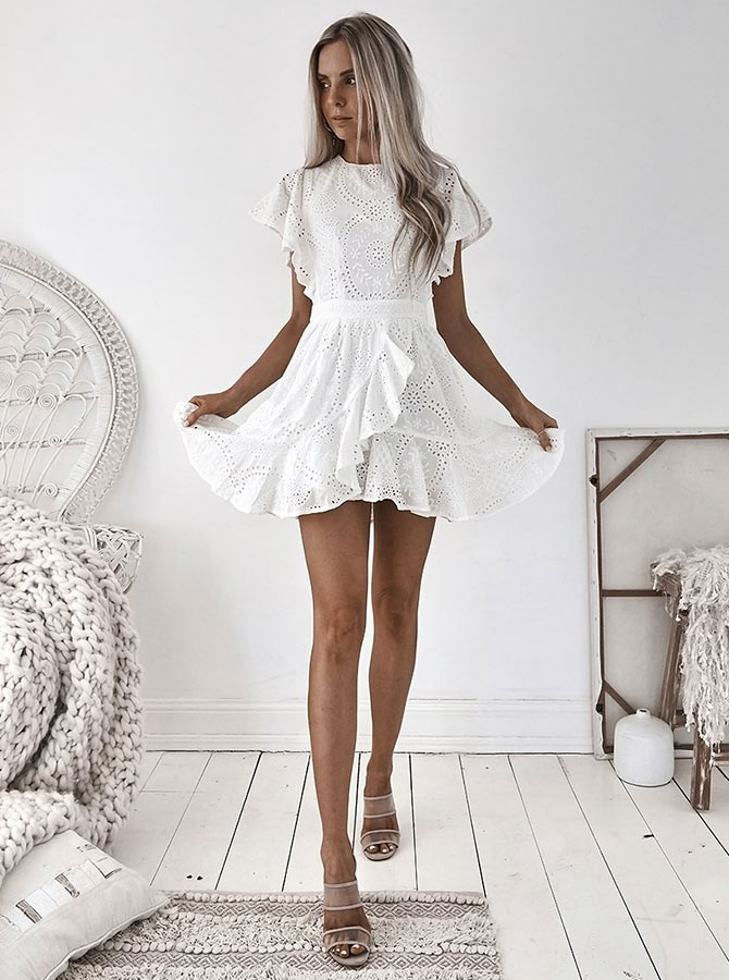 A-Line Crew Cap Sleeves Short White Homecoming Dress with Ruffles