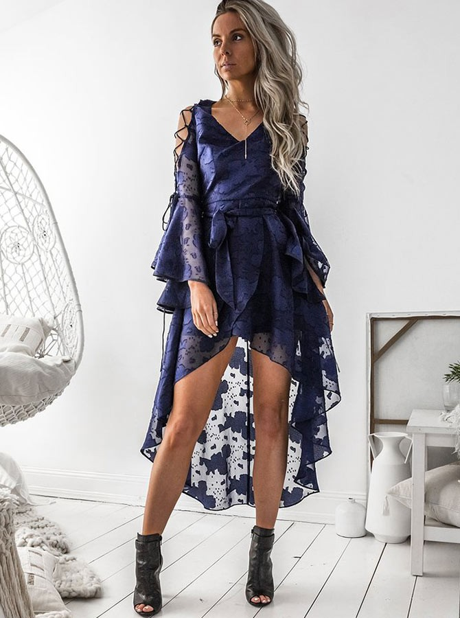 High Low  V-Neck Bell Sleeves High Low Navy Blue Chiffon Prom Homecoming Dress
