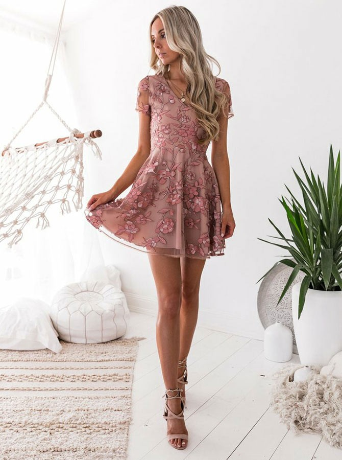 A-Line V-Neck Short Sleeves Criss-Cross Straps Blush Organza Homecoming Dress with Appliques