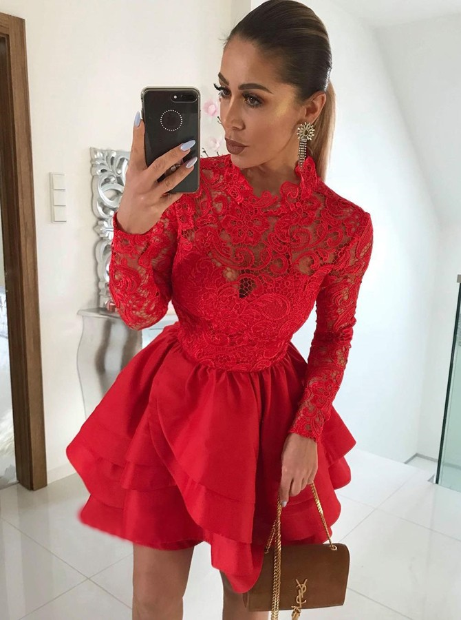 A-Line Jewel Long Sleeves Short Red Satin Homecoming Dress with Lace