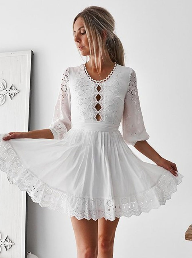 A-Line Round Neck 3/4 Sleeves Short White Homecoming Dress with Sash