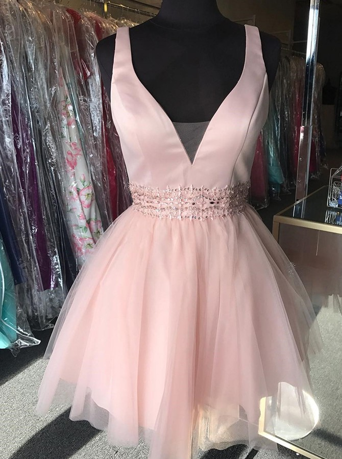 A-line V-neck Short Homecoming Dress with Beading