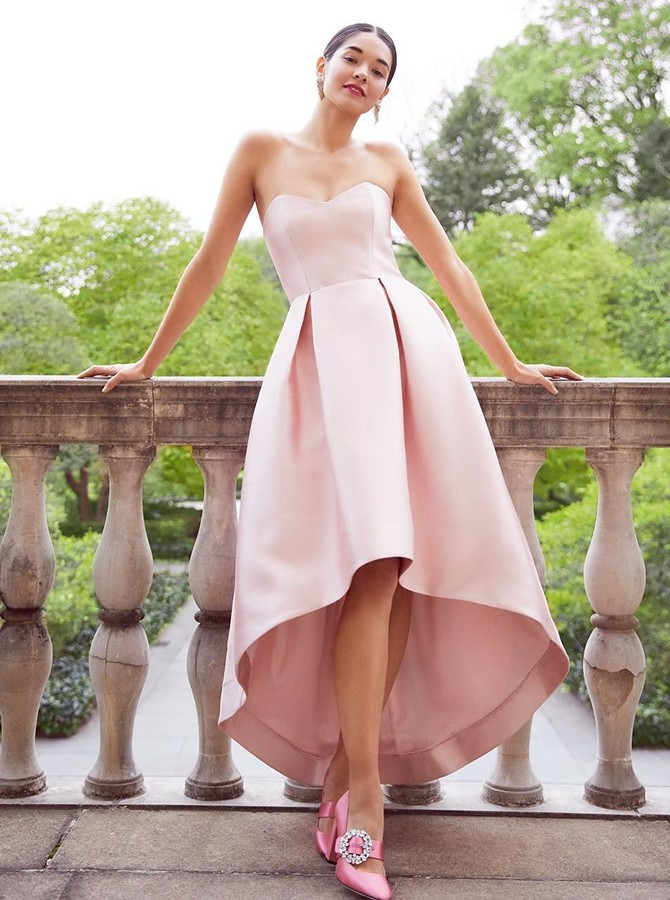 A-line Sweetheart High Low Pink Homecoming Dress