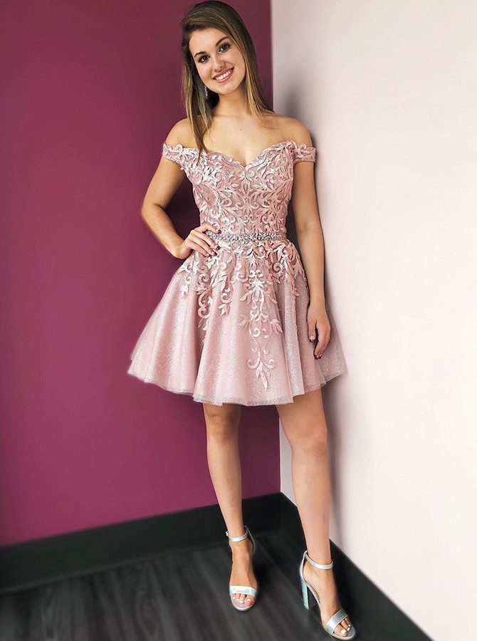 A-Line Off-the-Shoulder Pink Homecoming Dress Short Party Dress with Appliques