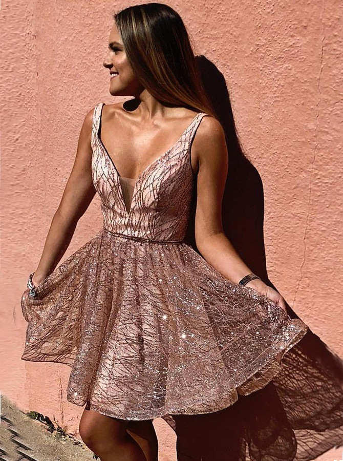 A-line V-neck Sleeveless Short Champagne Sequin Homecoming Dress