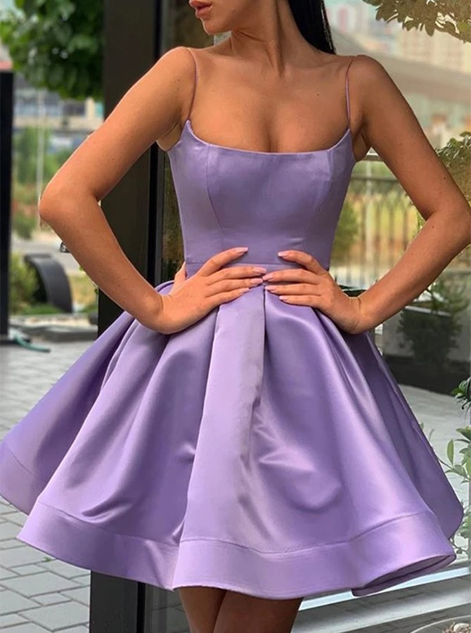 Ball Gown Spaghetti Straps Lilac Satin Short Homecoming Dress