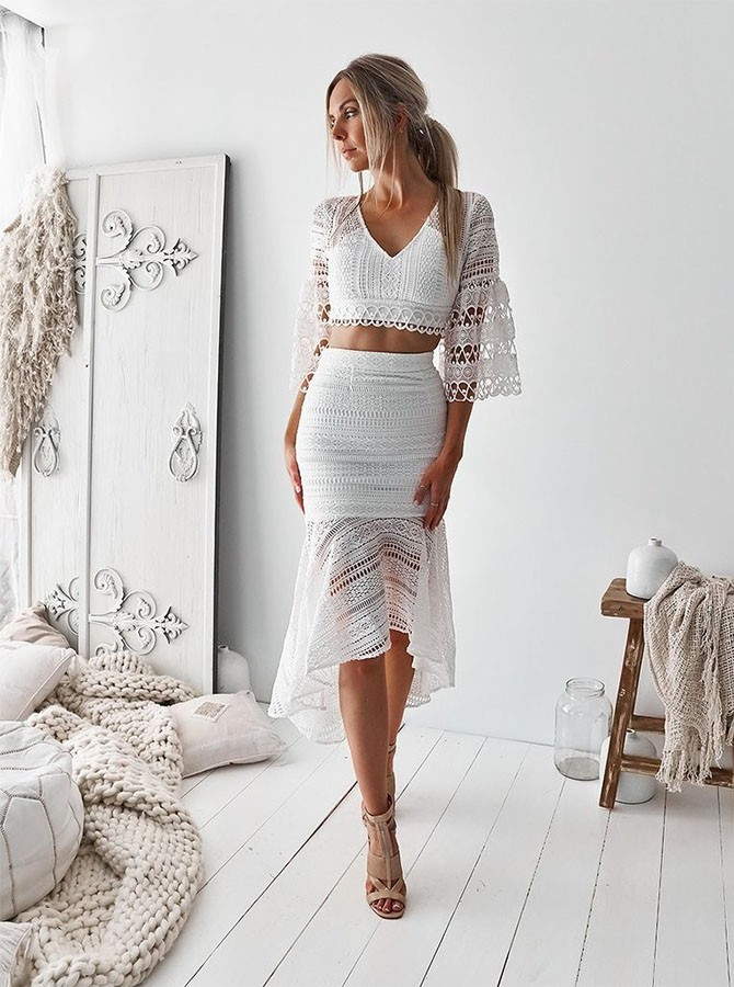 Sheath Two Piece V-Neck Half Sleeves White Lace Asymmetrical Homecoming  Dress ... 669ef91c8