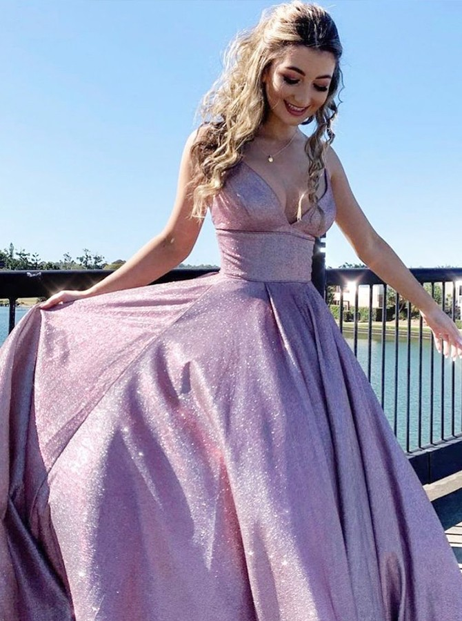 Lilac Sequins Long Prom Dress