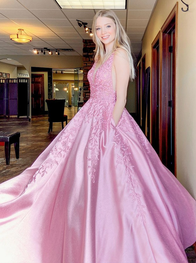 Pink Satin Embroidery Prom Dress