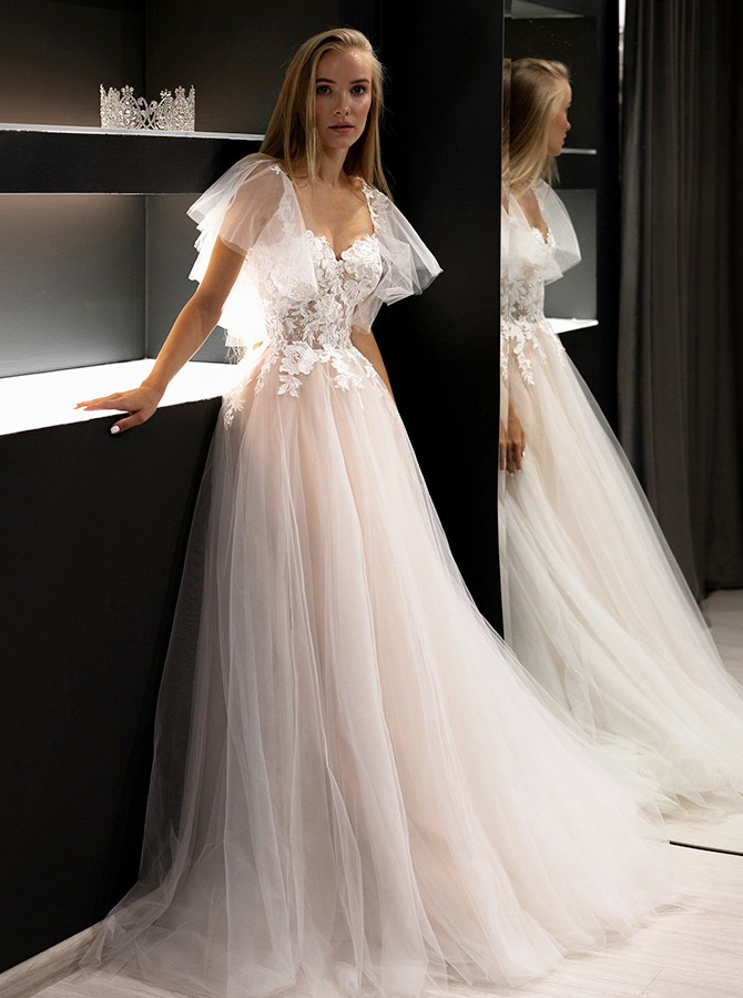 White Chiffon Zipper-up Cap Sleeves Wedding Dress with Sweep Train