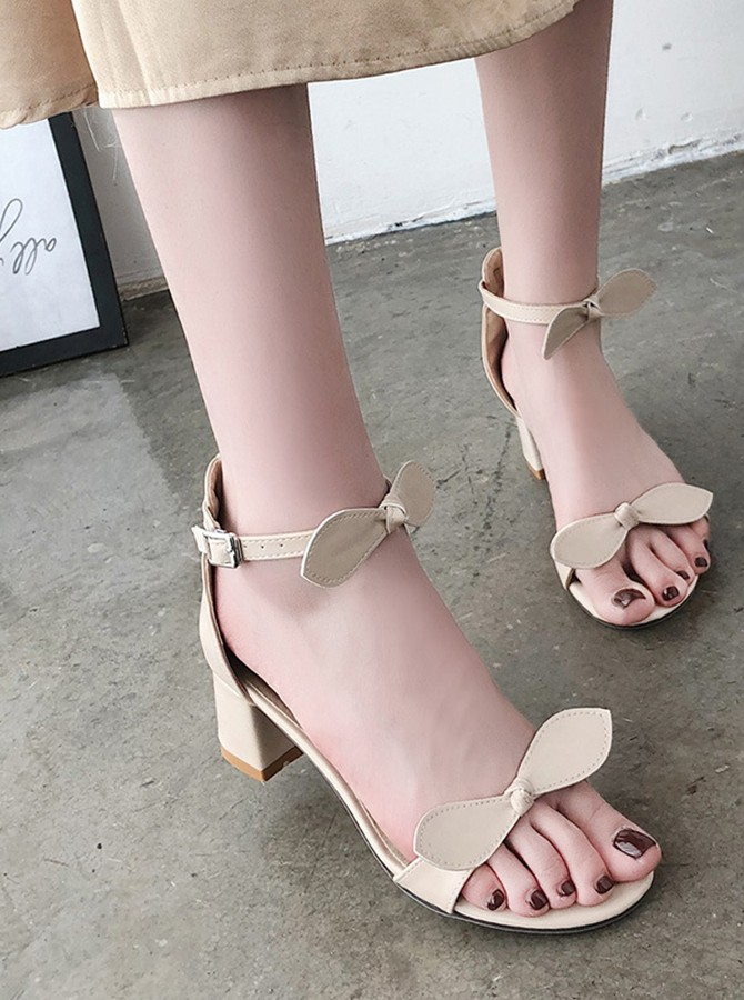 Apricot Ankle Straps Chunky Heels with Bowknot