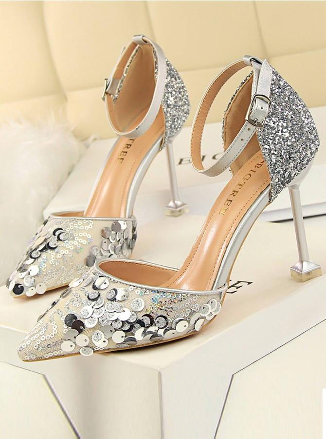 Silver Ankle Straps Stiletto Heels with Sequins